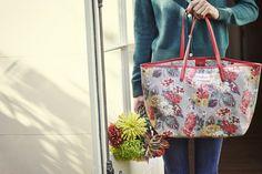 Cath Kidston new autumn collection | Autumn Bloom leather trim big tote #cathkidston