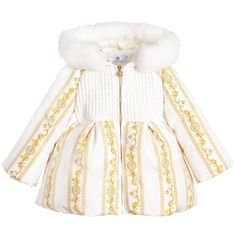 Young Versace Baby Girls Ivory 'Cornici' Down Padded Coat with Fur Little Girl Outfits, Cute Outfits For Kids, Little Girl Fashion, Toddler Fashion, Toddler Outfits, Baby Boy Outfits, Kids Fashion, Gucci Baby Clothes, Luxury Baby Clothes