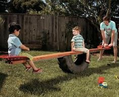 "Homemade see-saw Now on my hubby's ""honey do"" list! The seats look like old tractor seats"