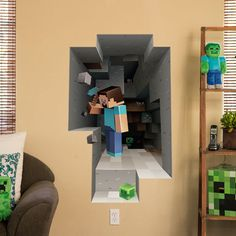 Cool Minecraft wall hangs on J!NX : Minecraft Wall Clings Mining my 8 yet old son would kill for this ! Steve Minecraft, Minecraft Diy, Minecraft Decoration, Minecraft Room Decor, Minecraft Stuff, Boys Minecraft Bedroom, Minecraft Furniture, Minecraft Skins, Minecraft Buildings