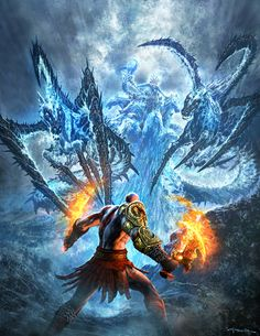 Marketing illustration showcasing the epic boss battle at the beginning of the game. It's Kratos vs. Poseidon in all his craziness. God of War III- Poseidon Fight Kratos God Of War, God Of War 3, God Of War Game, Video Game Art, Video Games, Poseidon, Andy Park, Keys Art, Park Art