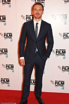 Hey, boy: On Friday evening actor Michael Fassbender walked the red carpet for the screening of Trespass Against Us at the BFI London Film Festival at Haymarket Cinema