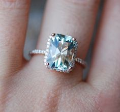 Very beautiful ring features a natural non-treated aquamarine in gorgeous Seafoam blue green color. This stone is 2.67ct, eye clean, unheated. The setting is 14k rose gold. Diamonds are SI/H-I, TDW approx. 0.2ct. Size 6, can be resized Total $1700USD (split into 2 equal weekly payments). Matching wedding bands are here http://www.etsy.com/listing/43570520/skinny-and-stackable-eternity-diamond or http://www.etsy.com/listing/45762486&...