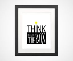 Think outside the box with light bulb motivation by BrightPaper