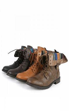 Terra-06 Aztec Cuff Combat Boots BLACK