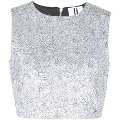 Angie Floral Shell Top by Unique ($160) ❤ liked on Polyvore featuring tops, crop tops, shirts, topshop, silver, polish t shirts, crop shirts, floral top, print top and shiny shirt