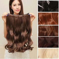 6 colors Fashion Clip in Hair Extentions Women Elegant Long Curly Wig Hair Piece = 1958326660