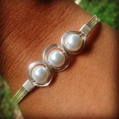 Wire Wraped Silver Pearl Five Row Bracelet Hand Made Jewelry