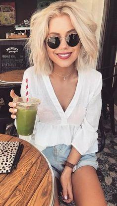 summer outfits  Denim Shorts V-neck Top
