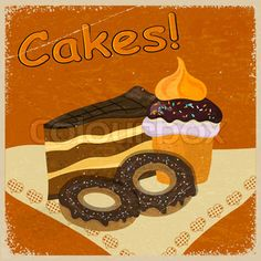 Vintage background image of a piece of cake and cookies on a napkin