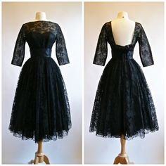 Vintage 1950's Black Illusion Lace Cocktail Dress
