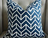 Decorative Designer Pillow Cover - 18X18 -  Decorators Walk by Schumacher Chevron Print  in navy - Pattern on the front