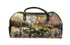 Marvel Comics Carry On Duffle Bag Retro Comic Book Print w/ Black Trim - LuggagePlanet.com