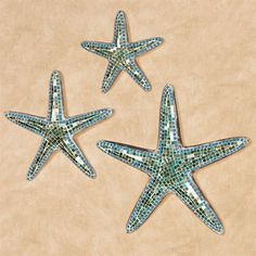 The Riley Starfish Wall Art Set adds a sparkling splash of the sea to your home. Each handcrafted wooden starfish features a whitewashed facade. Beach Theme Wall Decor, Starfish Wall Decor, Wall Decor Design, Beach Cottage Decor, Unique Wall Decor, Starfish Decorations, Nautical Theme, Mosaic Wall Art, Bathroom Wall Art
