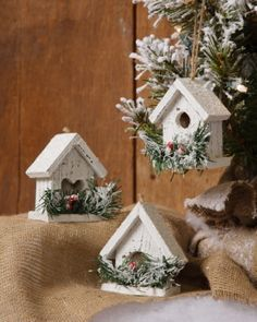 christmas birdhouses glue epson salts on roofs - Bird House Christmas Decoration