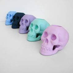 Pastel Skull Candle Holders