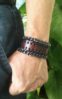 Antique Men's Brown Leather with Metal Chains Cuff by pier7craft,