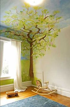 New tree mural kids room house Ideas Tree Mural Kids, Kids Room Murals, Kids Room Paint, Tree Murals, Kids Rooms, Murals For Kids, Mural Painting, Mural Art, Diy Painting