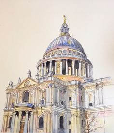 St Paul's Cathedral in London. Watercolor and ink painting for the New Artist Fair . Watercolor Architecture, Art And Architecture, London Painting, Messy Art, A Level Art, Geodesic Dome, Urban Sketching, London Art, Ink Painting
