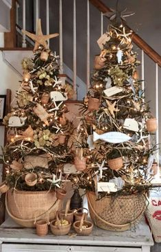 Going fishing this Christmas?  How about some rustic Nautical trees for a coastal holiday this year.