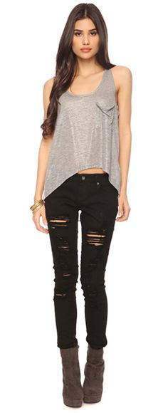metallic slub top w/ ripped midrise skinnies and cone heel ankle boots
