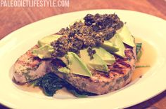 Tuna steak with Avocado and Cilantro Marinade: 1 tuna steak; 3 tbsp animal fat coconut oil or clarified butter; juice and zest of 1 lime; Tuna Steak Recipes, Avocado Recipes, Fish Recipes, Clean Eating, Healthy Eating, Tuna Steaks, Paleo Recipes Easy, Cheap Recipes, Cooking Recipes