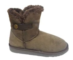 WOMEN LADIES WARM FUR LINED BUCKLE LOW HEEL MID CALF WINTER SHOES BOOTS SIZE 3-8