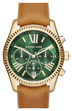 MICHAEL Michael Kors 'Lexington' Chronograph Leather Strap Watch, 38mm available at #Nordstrom