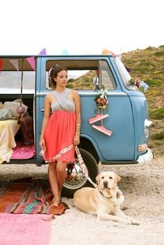 Melissa...I can see you sporting the Bohemian Vintage look. Love the VW van...and the lab.