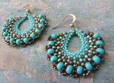fan earrings / dangle earrings / beadedwork jewelry / gypsy earrings / turquoise earrings-/ handmade