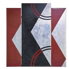 "DONALD DESKEY (1894-1989) DESKEY-VOLLMER Rare room divider, New York, 1920s-1930s; Painted canvas, aluminum leaf; Signed Deskey; Middle panel: 78"" x 36"", outer panels: 72"" x 18"" (hva)"