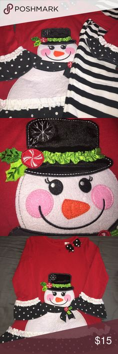 Rare Editions Christmas Snowman Outfit ⛄️ Worn 1-2 times, small spot pointed out on top. Rare Editions, size 6. Great condition! Rare Editions Matching Sets
