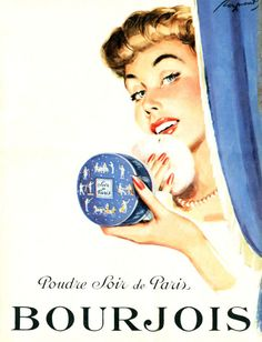 Raymond - Poudre Soir de Paris de Bourjois, 1953. Vintage Nails, Vintage Makeup, Vintage Advertisements, Paris, Call Dr, Blues, Advertising, Bourjois, Disney Princess