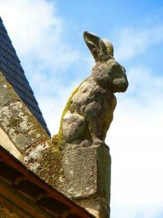 """""""The whole city is covered with whimsical statues in the shapes of woodland creatures and, sometimes, things more fearsome."""" - A Stranger's Journal guardian statue rabbit Rabbit Art, Bunny Rabbit, Lapin Art, Statues, Year Of The Rabbit, Bunny Art, Woodland Creatures, Green Man, Architecture Details"""