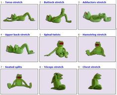 Kermit + yoga = How can you not like this? I've always been a huge Kermit fan! Static Stretching, Dynamic Stretching, Stretching Exercises, Frog Stretch, Warm Up Stretches, Best Workout Routine, The Muppet Show, Yoga Moves, Kermit The Frog