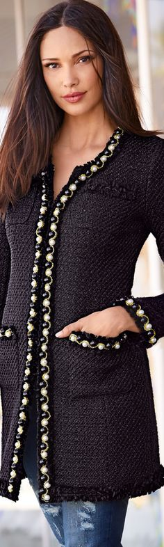 Boston Proper Pearl Trim Parisian Coat