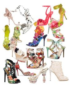 Beautiful Floral Heels by lotus-lotusflower on Polyvore featuring polyvore, Steve Madden, JustFab, Dolce&Gabbana, Imagine by Vince Camuto, Sophia Webster, GUESS, Gucci, Charlotte Olympia, Roger Vivier, fashion, style and clothing