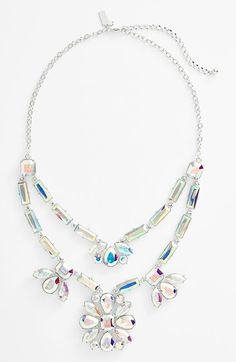 So sparkly and fun! Will pair this Kate Spade 'capital glow' frontal necklace with a dark collared top.