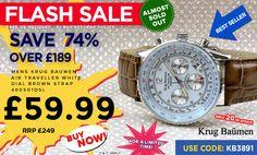 Krug Baumen Air Traveller Watch - FLASH SALE while stocks last!