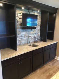 We take pride in creating the finished basement you want. Majestic Home Solutions offers a fresh new look to finished basements, bathrooms, and kitchens in Southeast Michigan. Wet Bar Basement, Basement Bar Plans, Basement Bar Designs, Rustic Basement, Home Bar Designs, Basement House, Basement Makeover, Basement Renovations, Basement Ideas