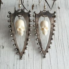 Shield and Skull (Silver/White) Earrings by Chase and Scout. Curious handmade jewelry based in Austin Texas.