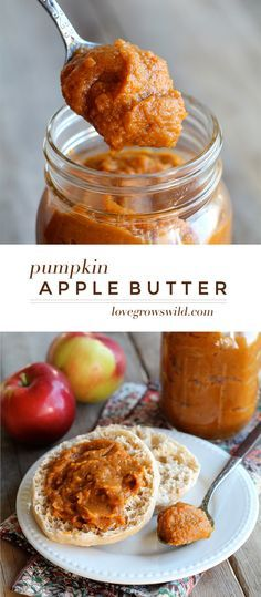 Homemade apple butter with a big dose of pumpkin pie flavor! Spread it on toast, pancakes, biscuits, and more for an easy and delicious fall-inspired breakfast! | LoveGrowsWild.com