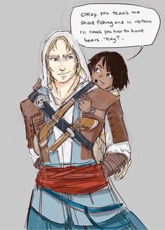 *CRIES FOREVER* THESE TWO GIVE ME FEELS I NEVER KNEW I NEEDED. Edward and Connor Kenway. Assassin's Creed IV Black Flag.