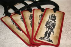 Christmas Tags - Nutcracker Ornaments Gift Tags - Vintage Appearance - Set of 5