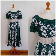 Green Floral Tropical Hawaiian Maxi Sun by SkinnedKneesVintage