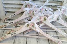 Set of 8.These are shabby chic decoupaged blush pink roses wedding hangers, which I can personalize for your wedding or as an wedding gift. So shabby and gorgeous, perfect for photo prop for the bride`s wedding dress and bridesmaids dresses.An unique and thoughtful bridal shower
