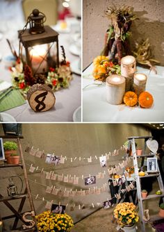 Fall table cards, center pieces and table numbers....looks easy to do and CHEAP!