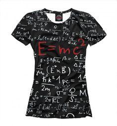 59e86e8b896ea Гений! 👆 Стильная футболка с принтом и физической формулой Эйнштейна.  Свитшоты, футболки, худи с принтом в MyPrintHub