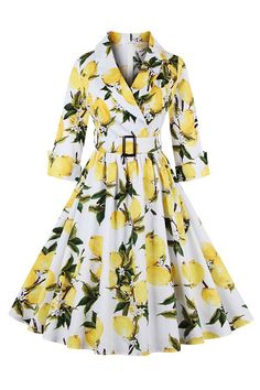 1950's vintage swing dress covered with lemon pattern featuring turn-down collar with v-neckline, 3/4 half sleeves with turn-up cuff and swing hemline. https://atomicjaneclothing.com/products/atomic-vintage-lemon-print-turn-down-collar-half-sleeve-belt-casual-swing-dress