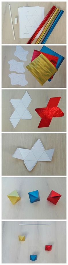DIY Montessori Octahedron Mobile- can't read the site, but the picture tutorials are good! Montessori Toddler, Mobile Montessori, Diy Montessori, Montessori Classroom, Montessori Materials, Montessori Activities, Infant Activities, Baby Lernen, Tutorial Diy